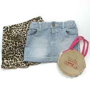 2 Cute Skirts Denim Jean Corduroy Leopard Size 18